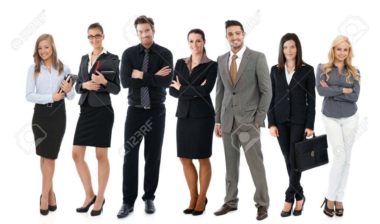 Team photo of successful young businesspeople over white background, all smiling happy. Stock Photo - 22072812