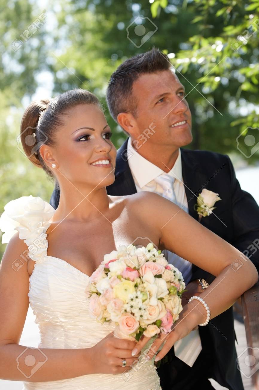 Portrait of happy young couple on wedding-day Stock Photo - 25711300