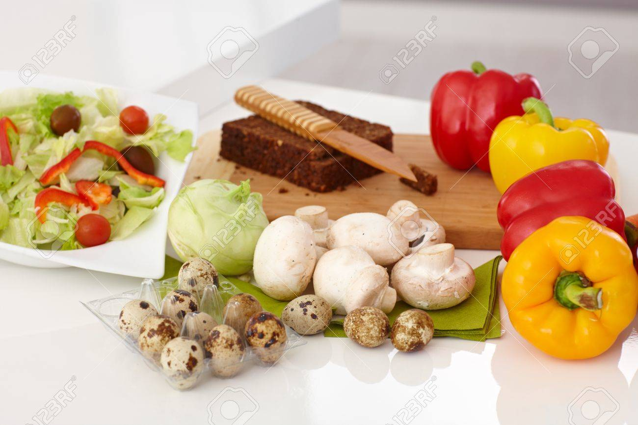 Kitchen Counter With Food Healthy Food On Kitchen Countervegetables Green Salad And
