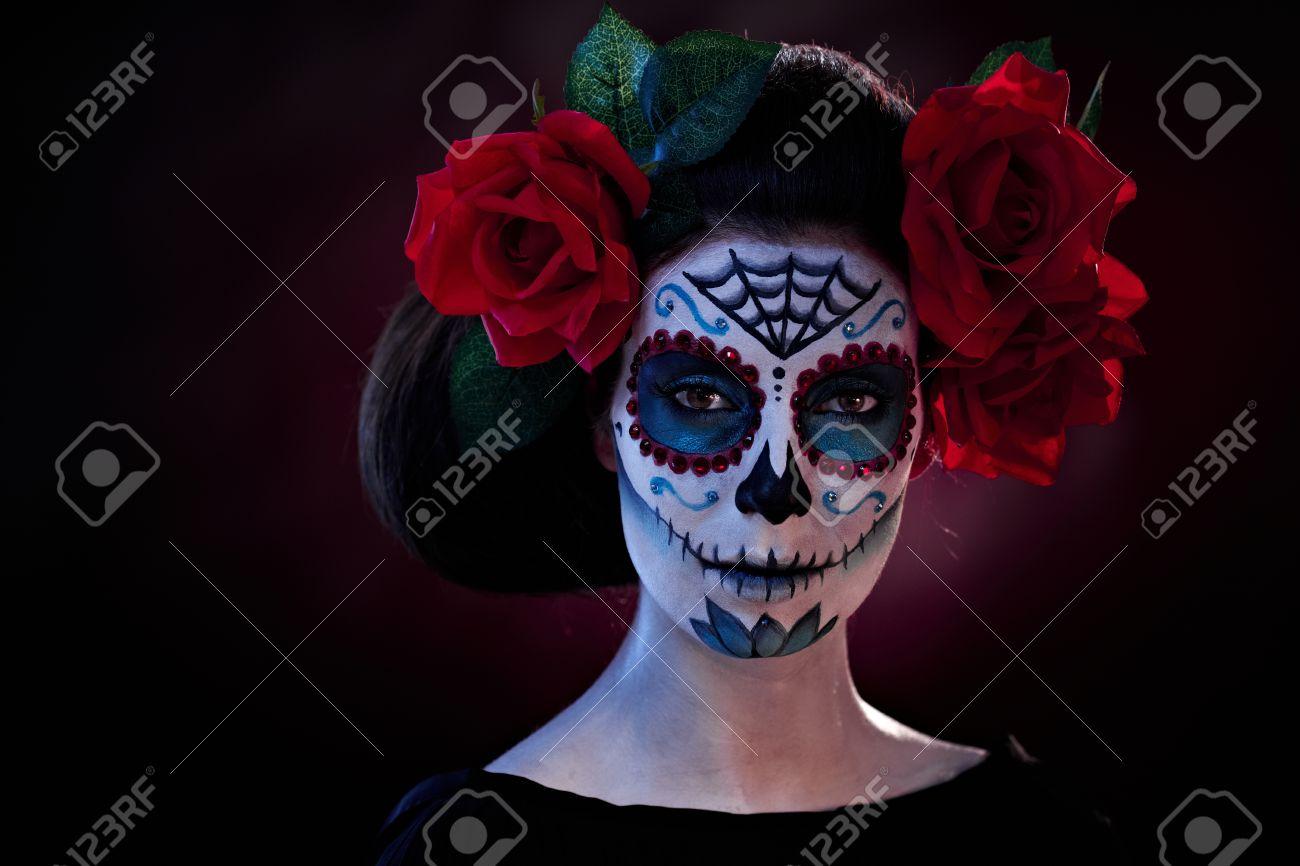 Woman In Halloween Makeup - Mexican Santa Muerte Mask. Stock Photo ...