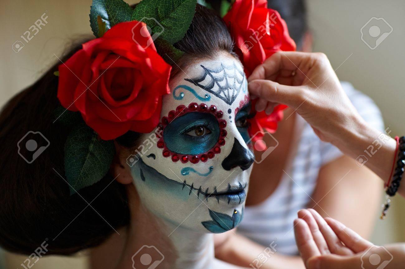 Makeup Artists In Work Making A Halloween Makeup - Mexican Santa ...