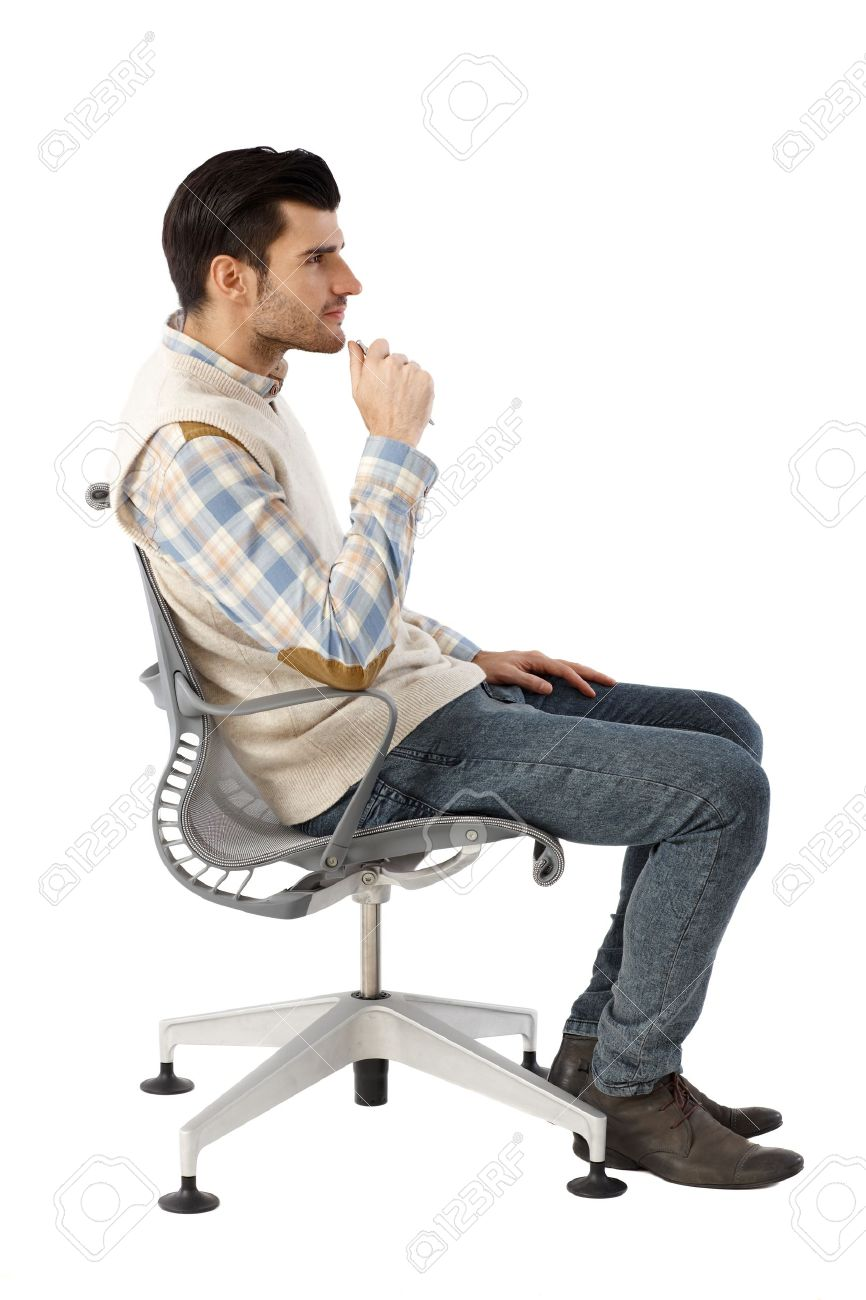 Strange Side View Of Businessman Sitting In Swivel Chair Thinking Pabps2019 Chair Design Images Pabps2019Com