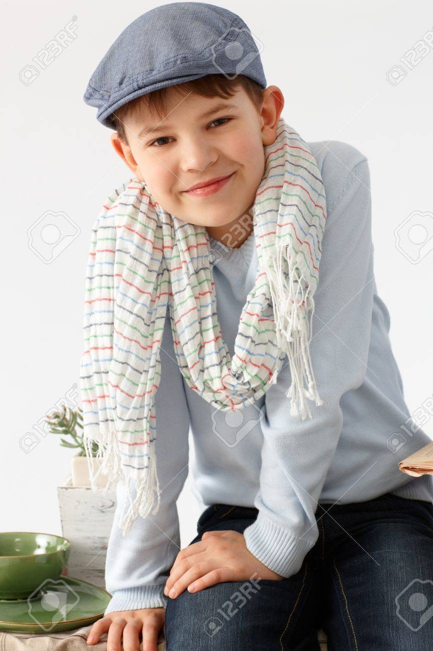 3bd1724aa95 Portrait Of Charming Little Boy In Hat