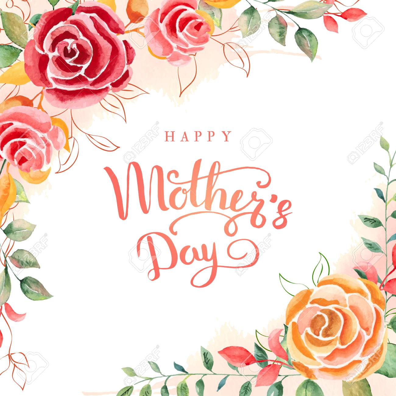 Happy Mothers Day Greeting Card With Mothers Day Floral Background