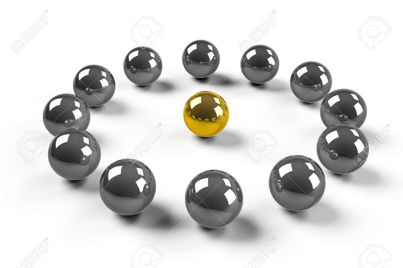 Twelve chromized balls around of one gold ball symbolize - LEADERSHIP Stock Photo - 16912734