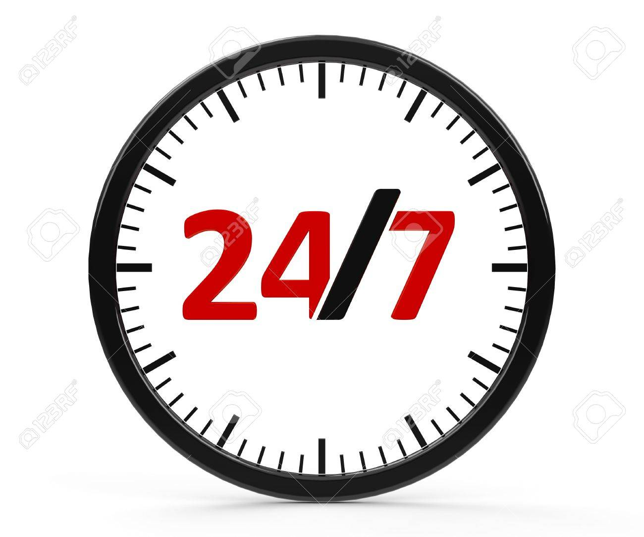 The logo of round-the-clock on white background represents 24 hours service, three-dimensional rendering Stock Photo - 18247733