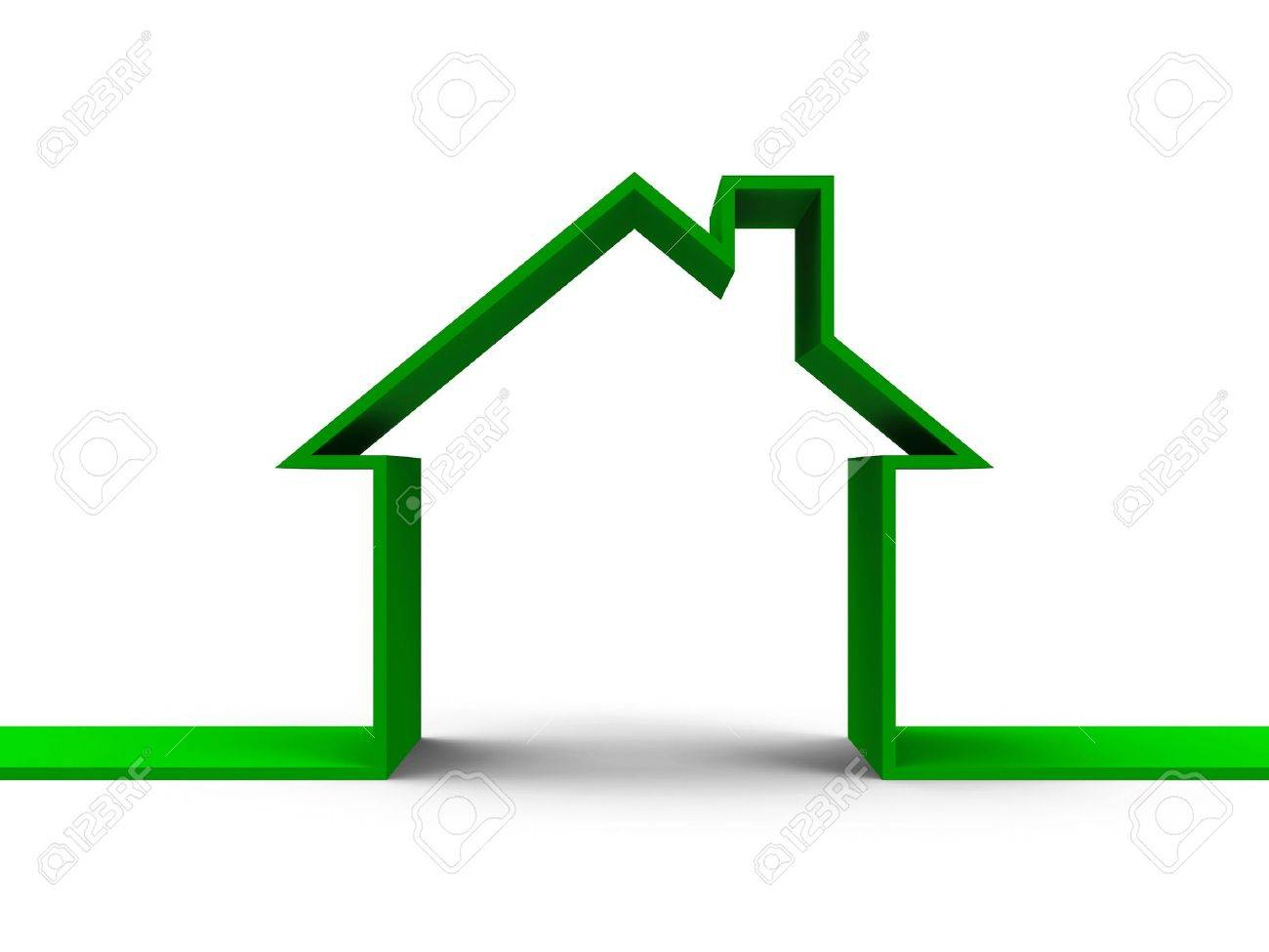 House outline picture - Green House Outline Concept Three Dimensional Rendering Stock Photo 19792324