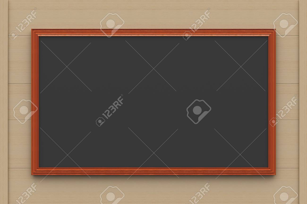 Clean black chalkboard on a wooden background, three-dimensional rendering Stock Photo - 19979664