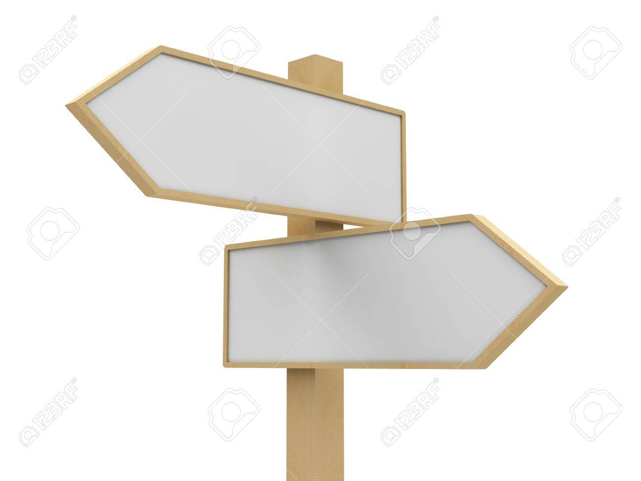 Closeup blank road sign on white background, three-dimensional rendering Stock Photo - 19979666