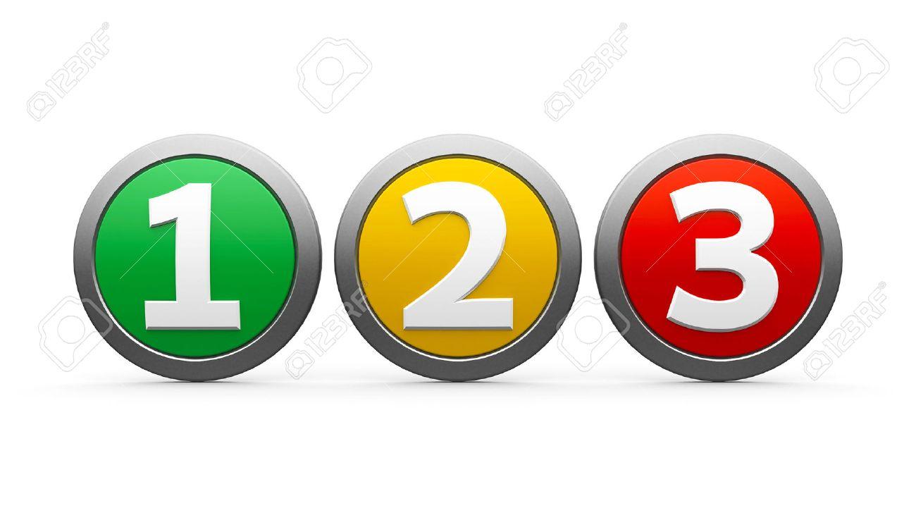 アイコン番号 1、2、3 (1、2、3)、白地に分離された三次元レンダリング ...