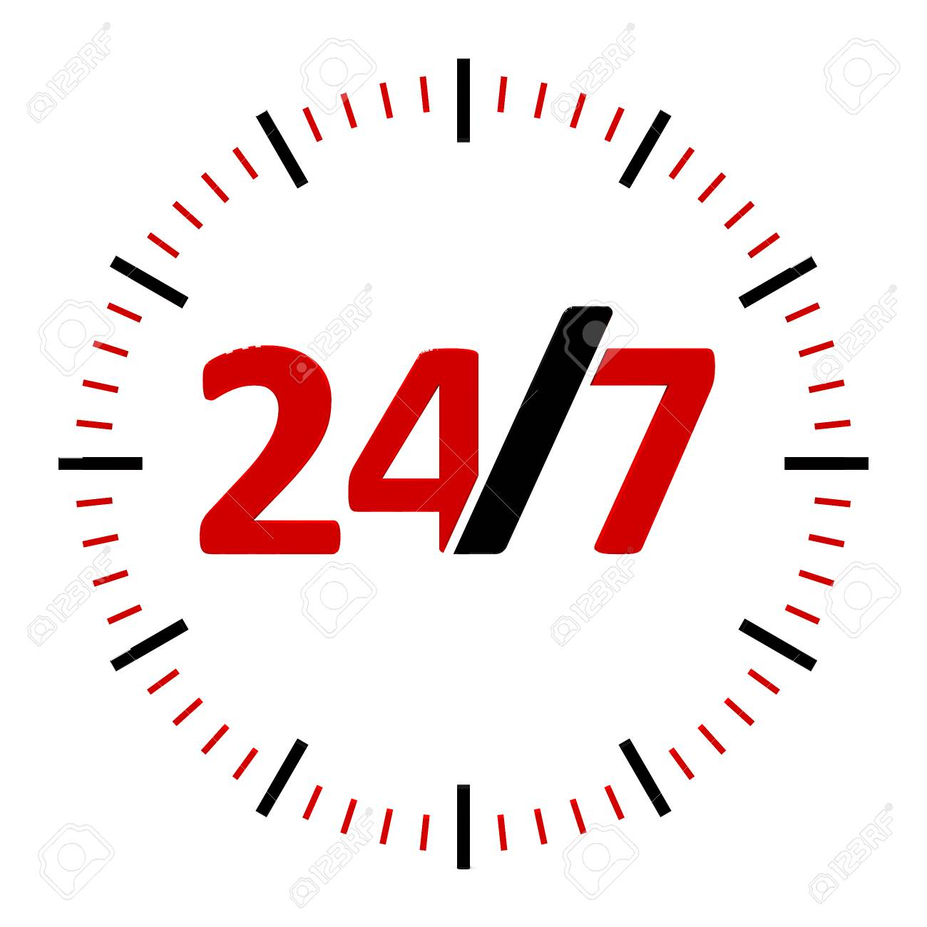 Round-the-clock On White Background Represents 24/7 Service,.. Stock Photo,  Picture And Royalty Free Image. Image 89691592.