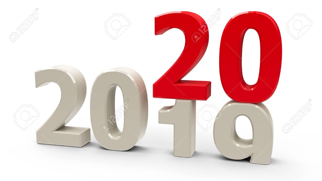 2019-2020 change represents the new year 2020, three-dimensional rendering, 3D illustration - 116947610