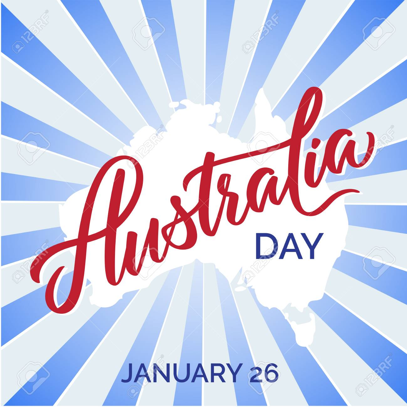 Australia Day Typography Lettering Word Art Brush Text Vector