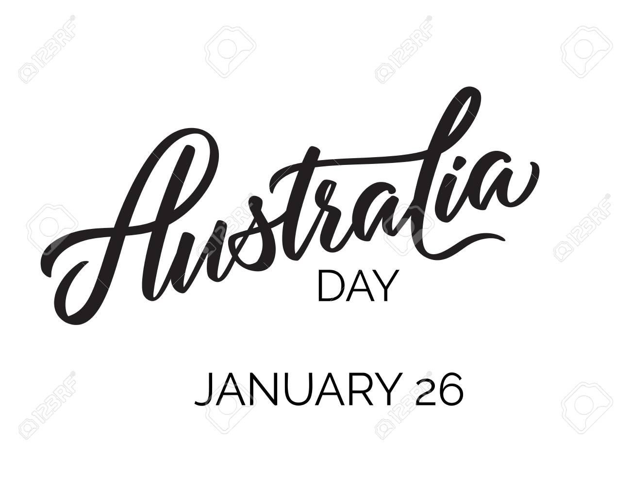 Australia Day Typography Lettering Word Art Brush Text Vector