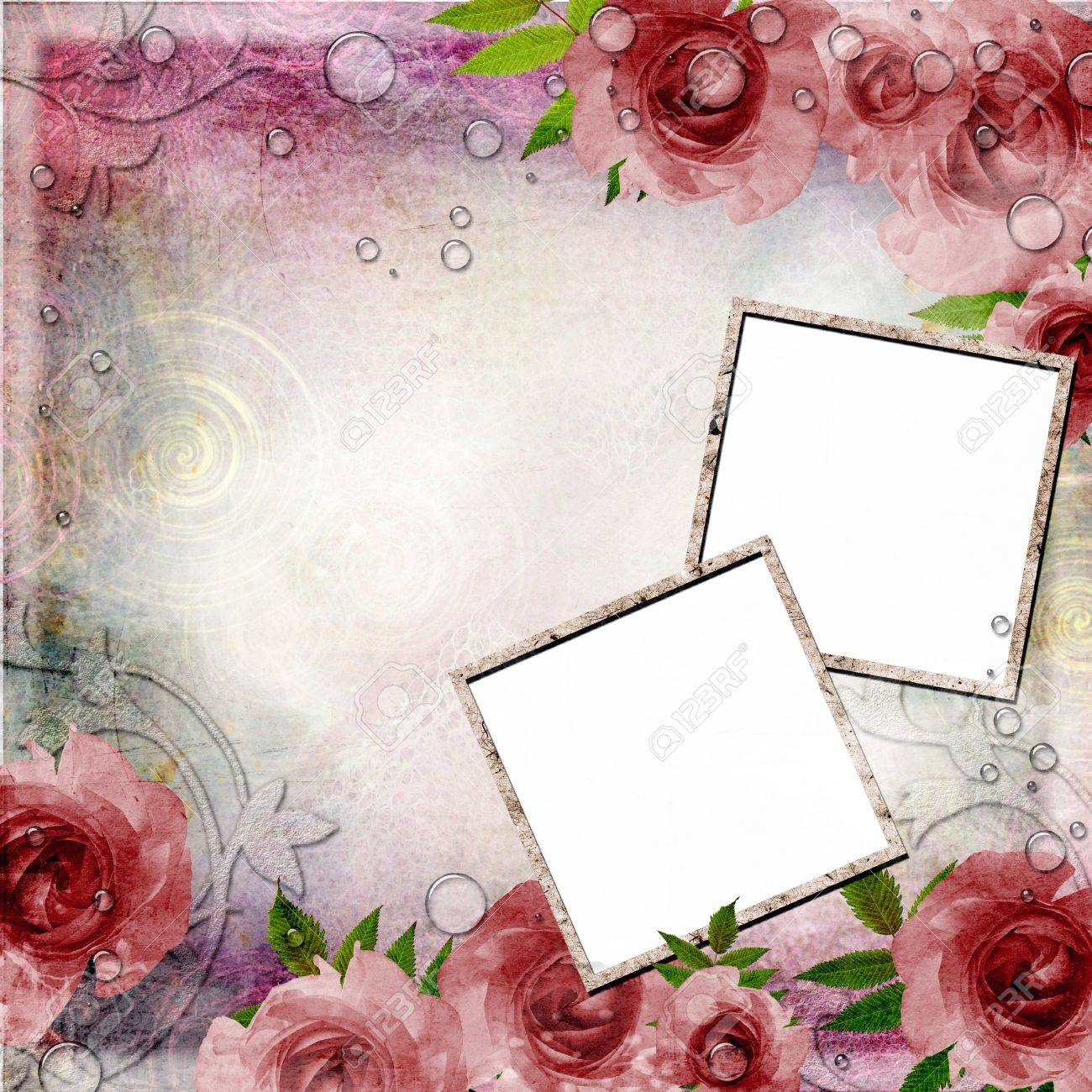 Vintage pink and green background with frames and roses 1 vintage pink and green background with frames and roses 1 of set stock photo jeuxipadfo Images