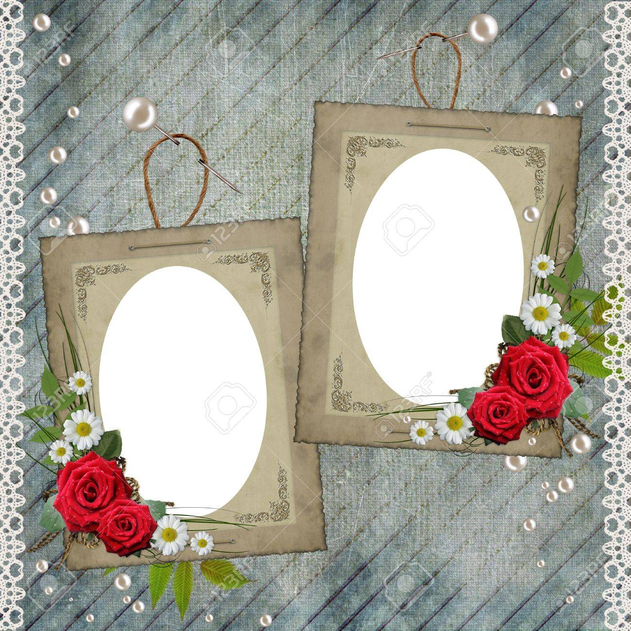 Old decorative frame with flowers and pearls Stock Photo - 9292539