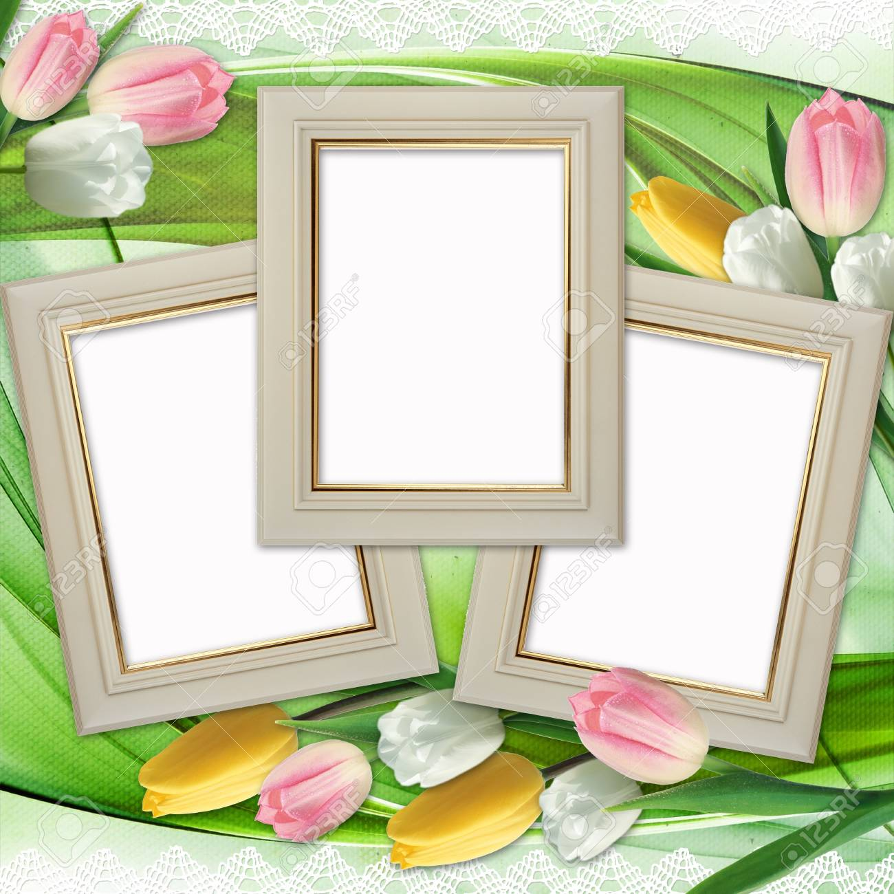 stock photo three picture frames and tulips flowers