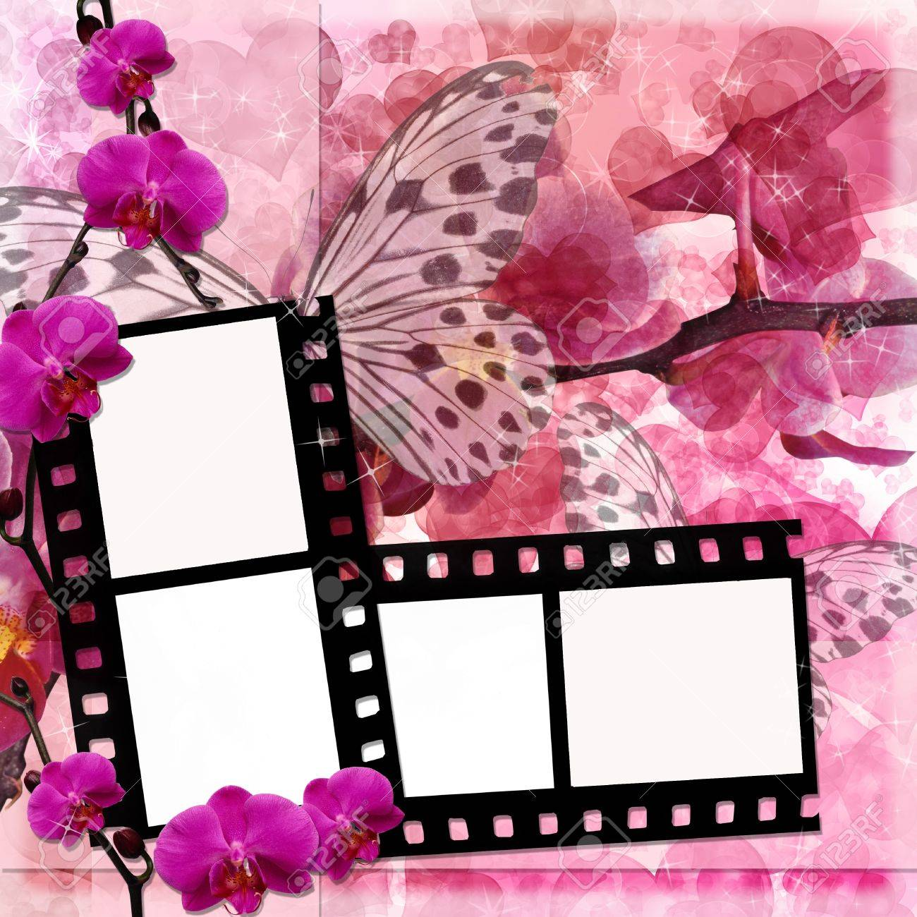 papillons et orchidées arrière-plan de fleurs roses avec cadre du