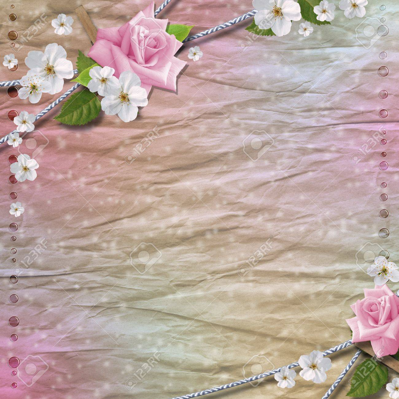Paper background with  flowers Stock Photo - 9862446