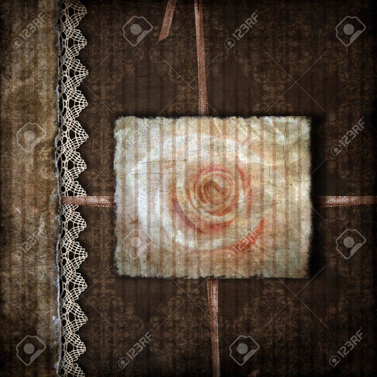 Brown cover for an album with rose Stock Photo - 10039348
