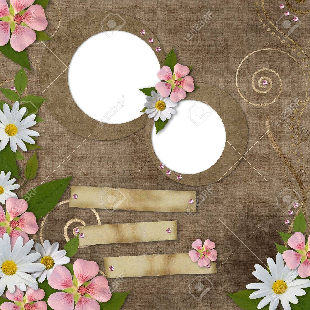vintage background with daisy and pink flowers Stock Photo - 10134568