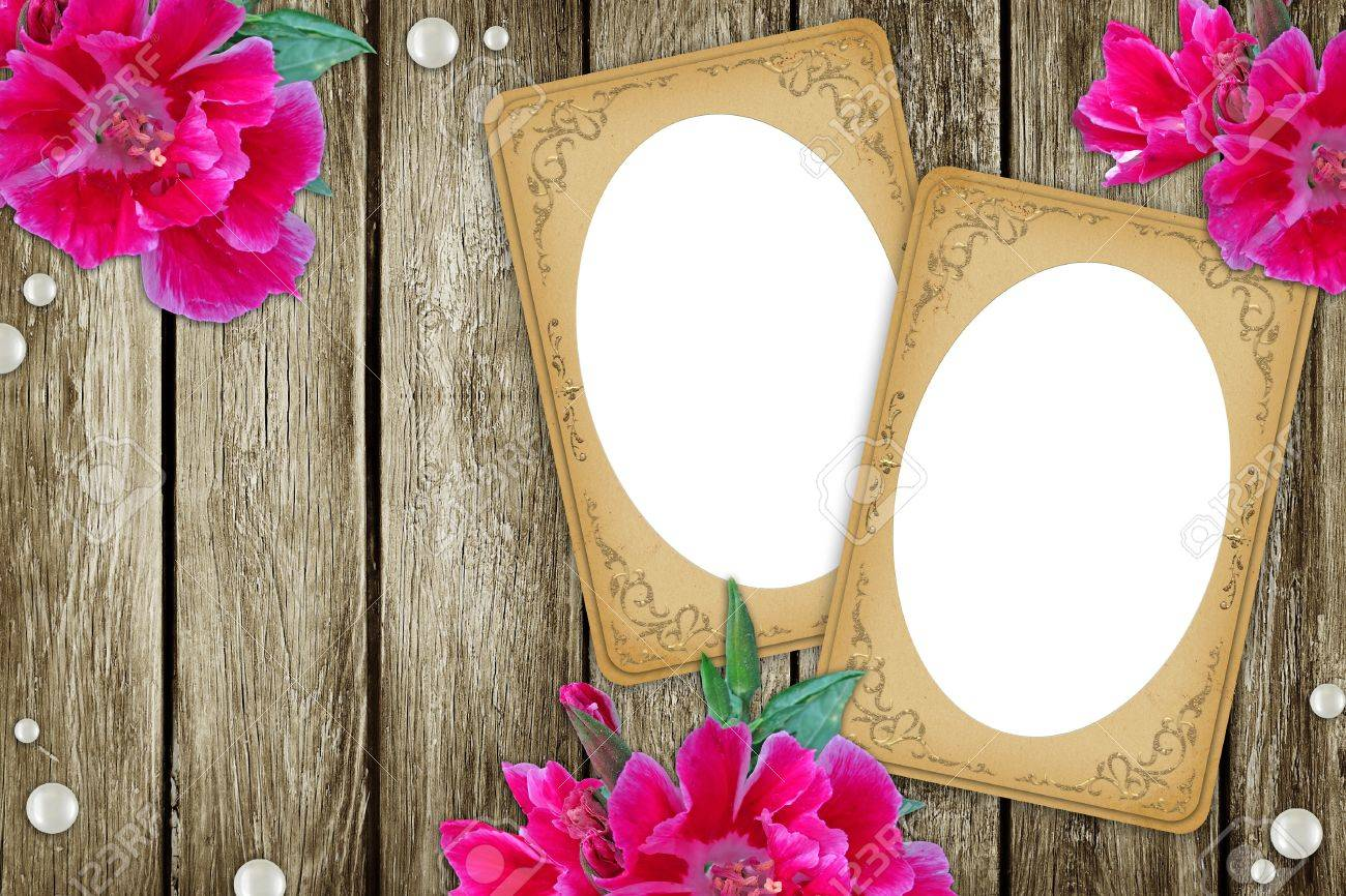 vintage two paper frames over grunge wood background Stock Photo - 10401874