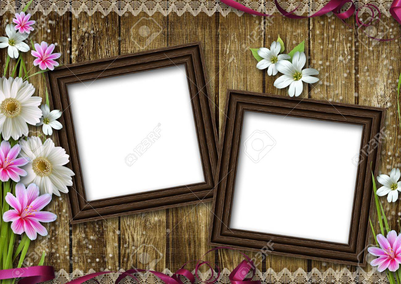 Two Wooden Photo Frames Over Grunge Wood Background Stock Photo