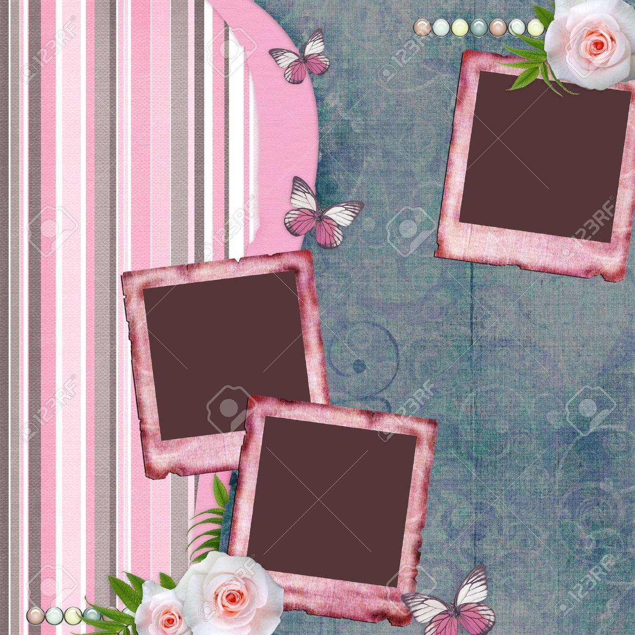Beautyful album page in scrapbook style  with  paper frames for photo, butterfly, rose (1 of set) Stock Photo - 10401887
