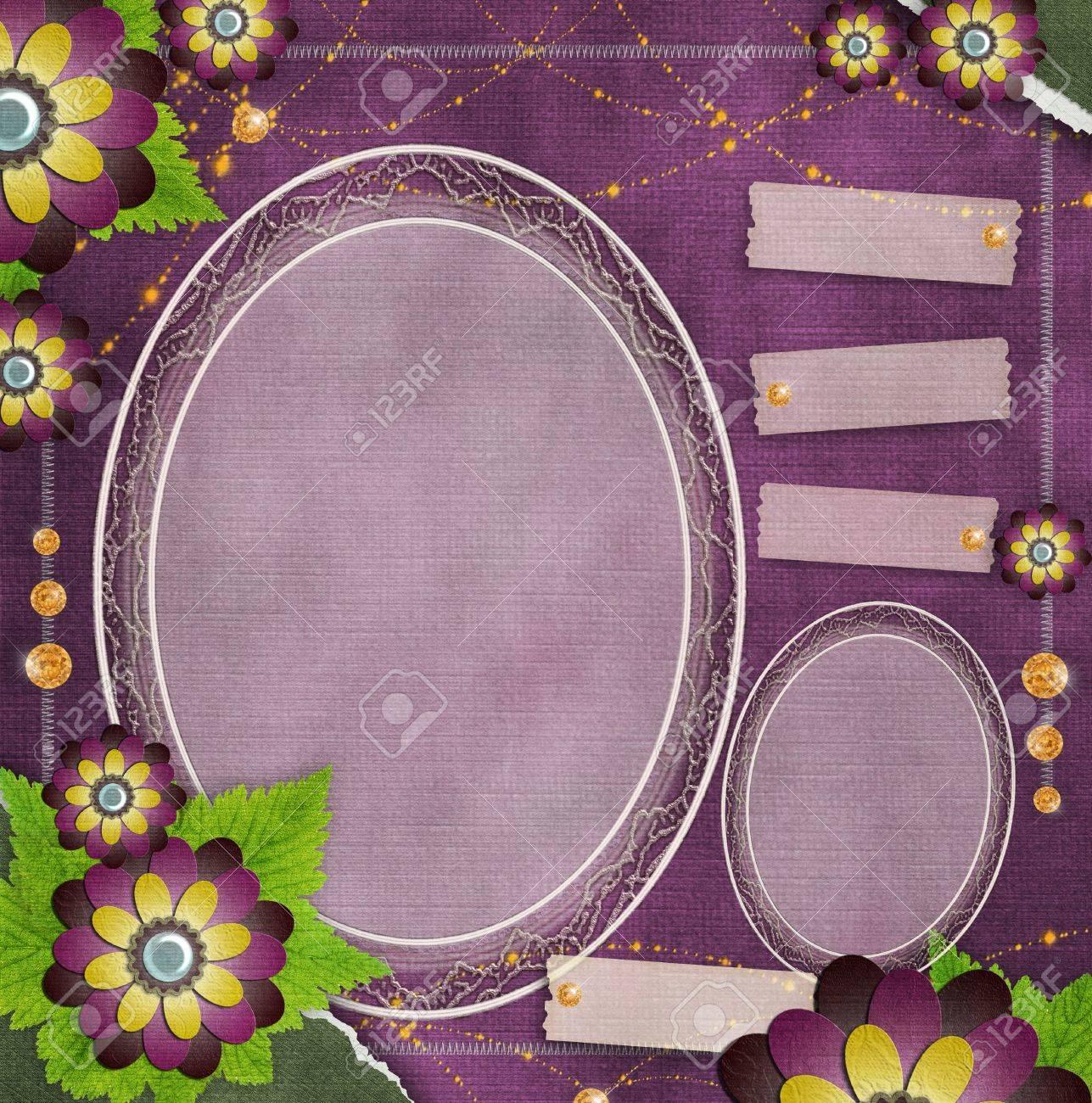 Vintage-Rahmen Aus Glas Auf Grunge Hintergrund Mit Blumen Im ...