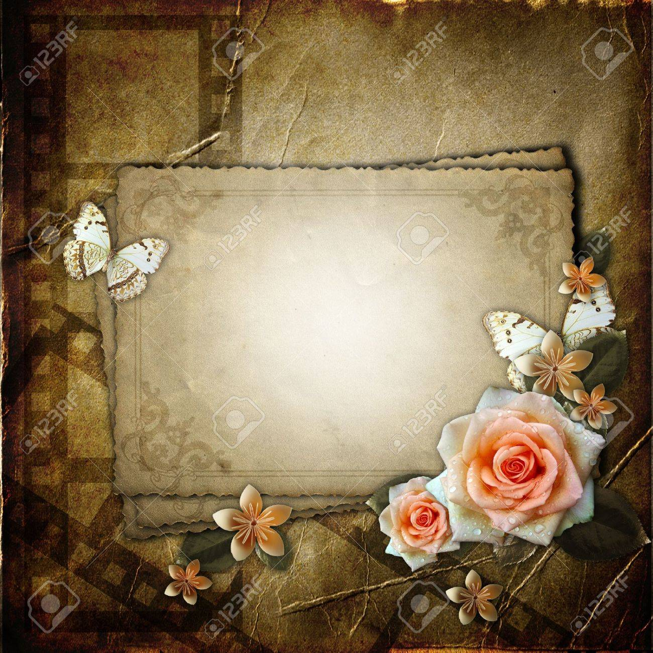 Vintage background with  paper  frame and flowers Stock Photo - 11826801