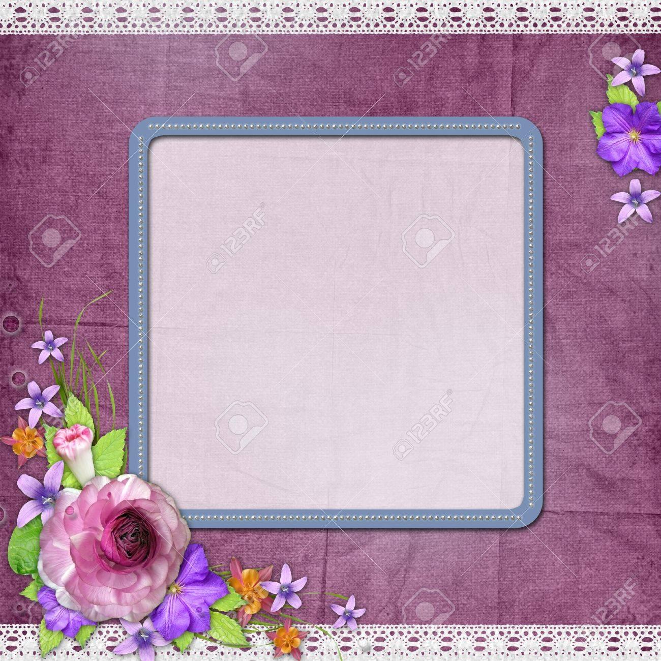 Lila Strukturierten Hintergrund Mit Einem Rahmen Für Das Foto Oder ...