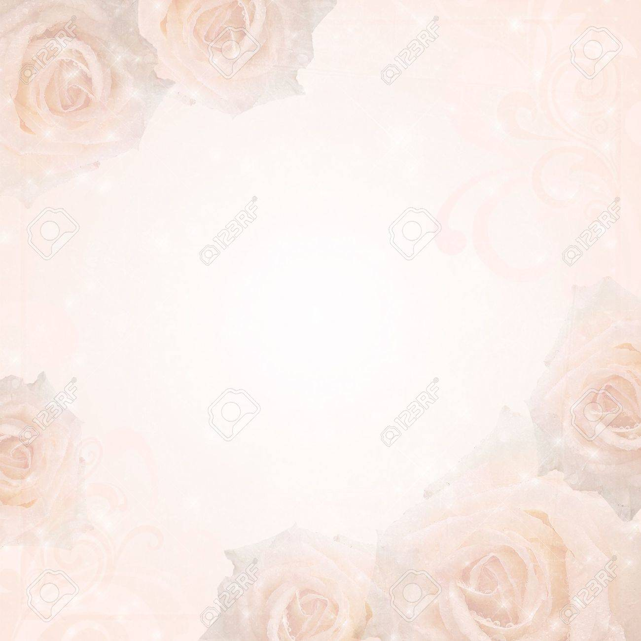 Wedding Background With Beige Roses And Floral Frame