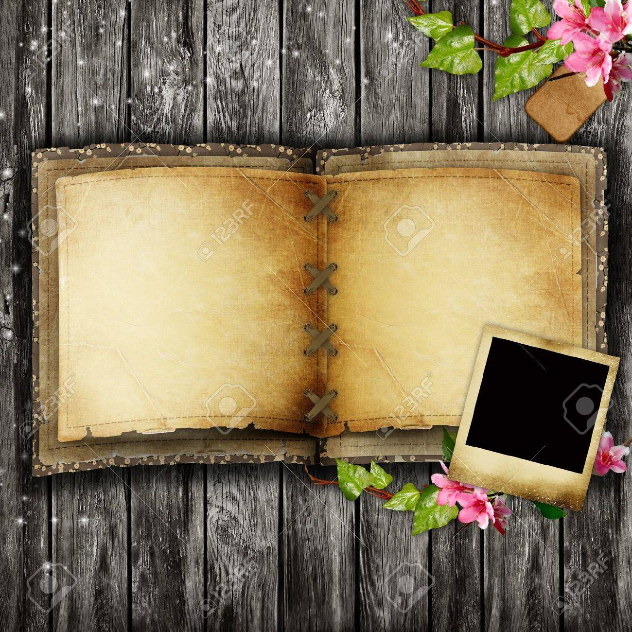 Open blank vintage book on wooden table Stock Photo - 12509997