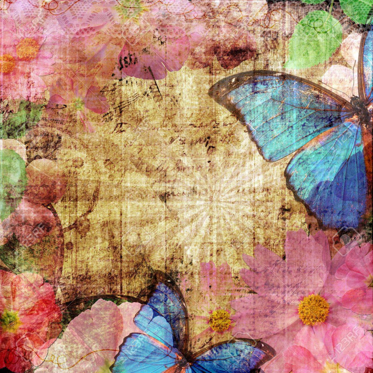 vintage background  with butterfly Stock Photo - 12510005