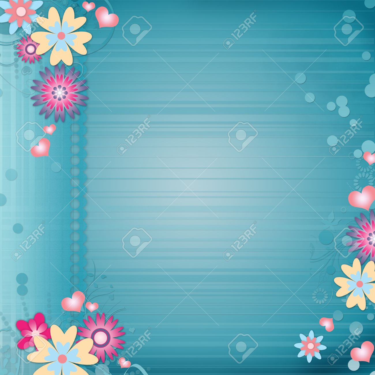 Greeting Card Background With Flowers Hearts Stock Photo Picture