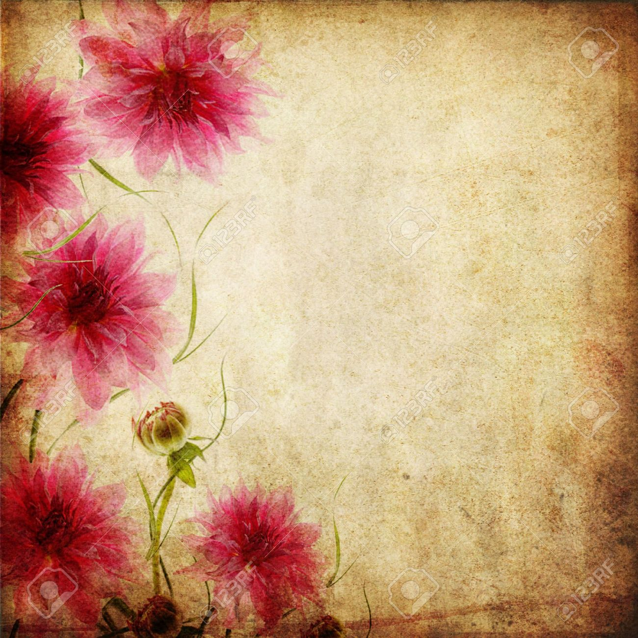 Old papers background with pink flowers Stock Photo - 12816894