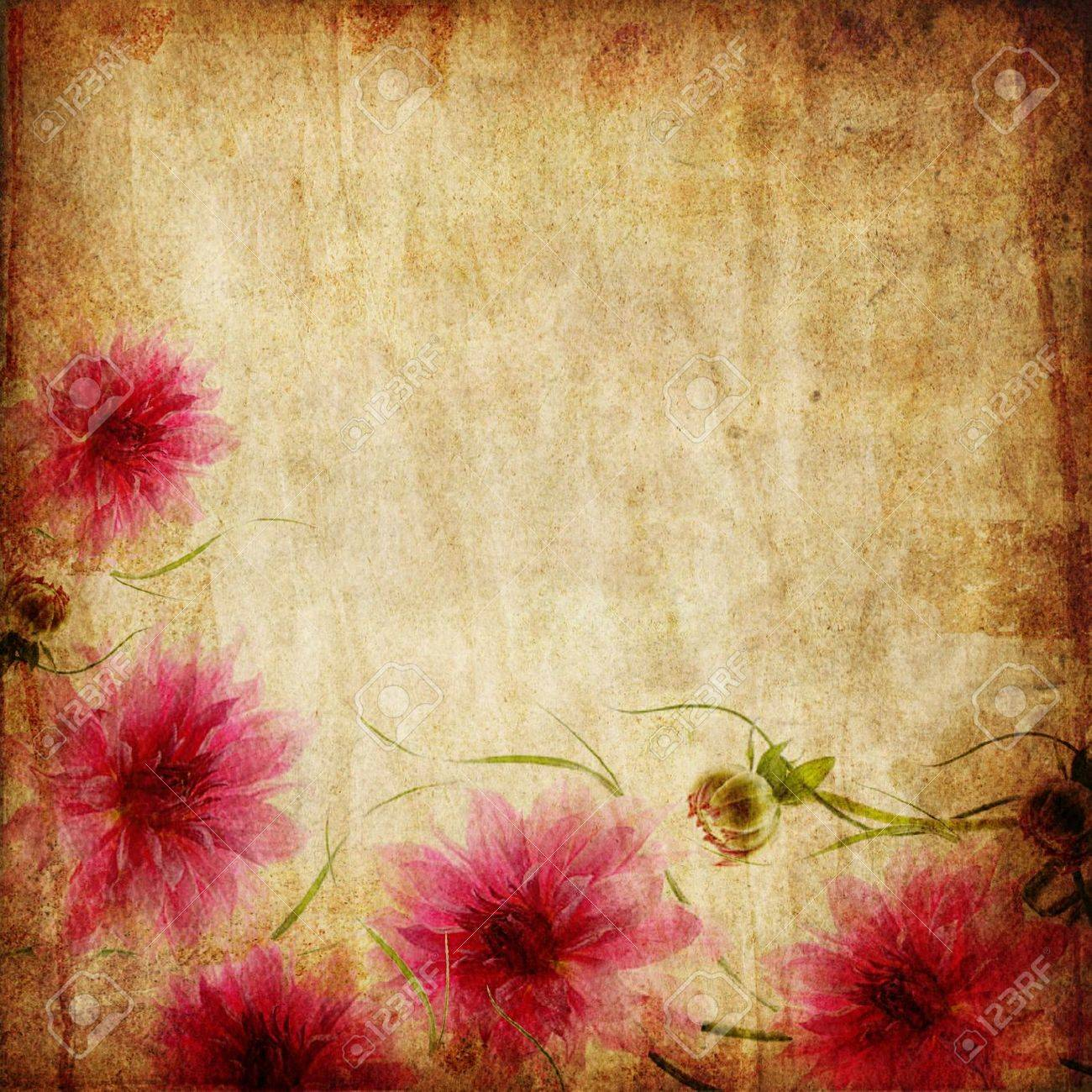 Old Paper Background With Pink Flowers Stock Photo Picture And