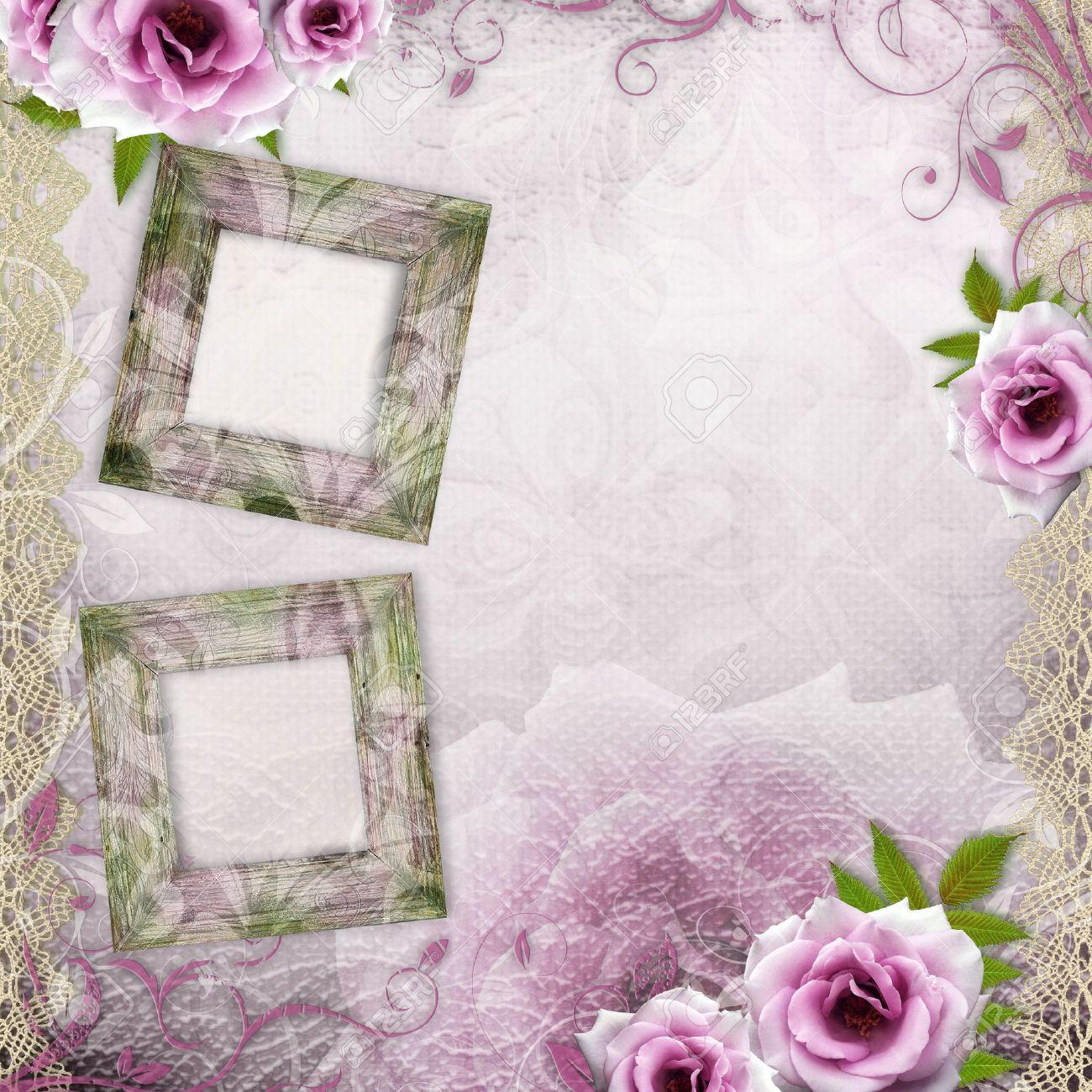 Fondo Blanco Hermoso De La Boda Con Rosas De Color Púrpura Y Los ...