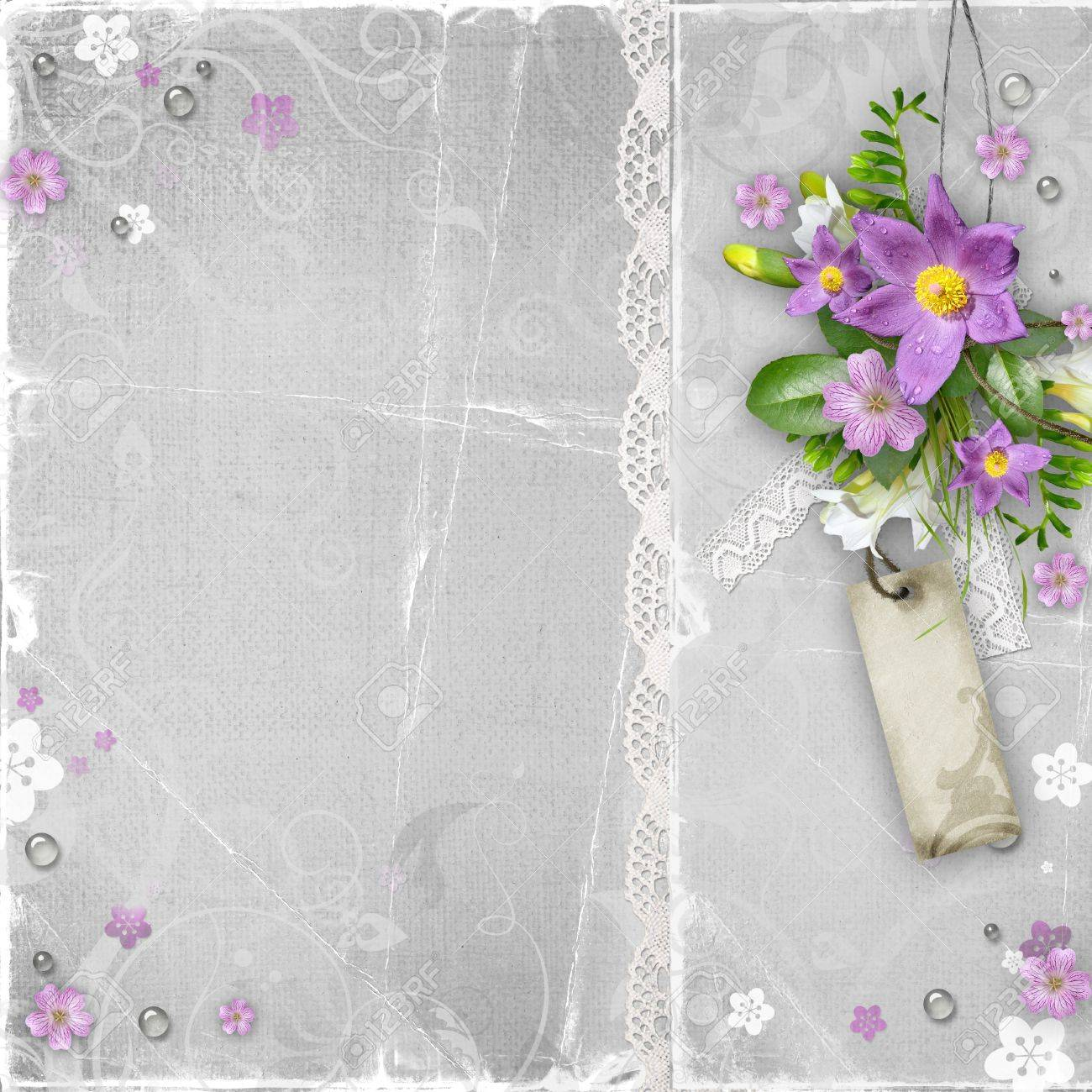 vintage paper textured background with flowers Stock Photo - 13185422
