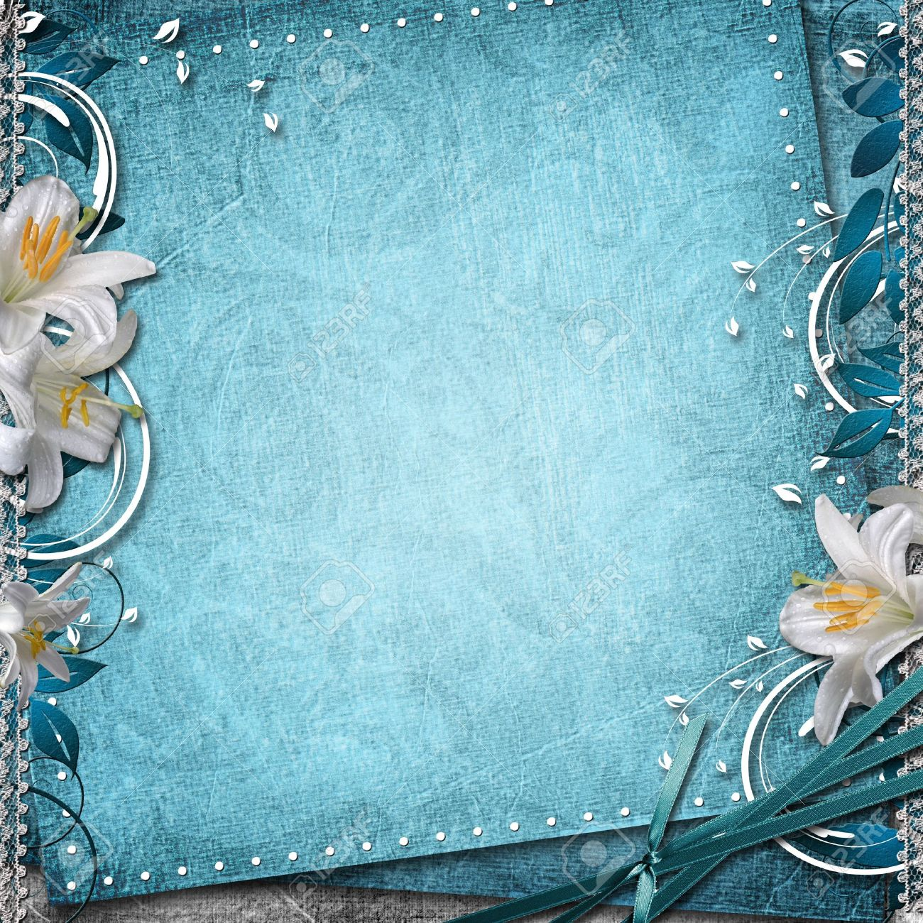 Vintage Floral Background With Lilies Stock Photo - 14572055