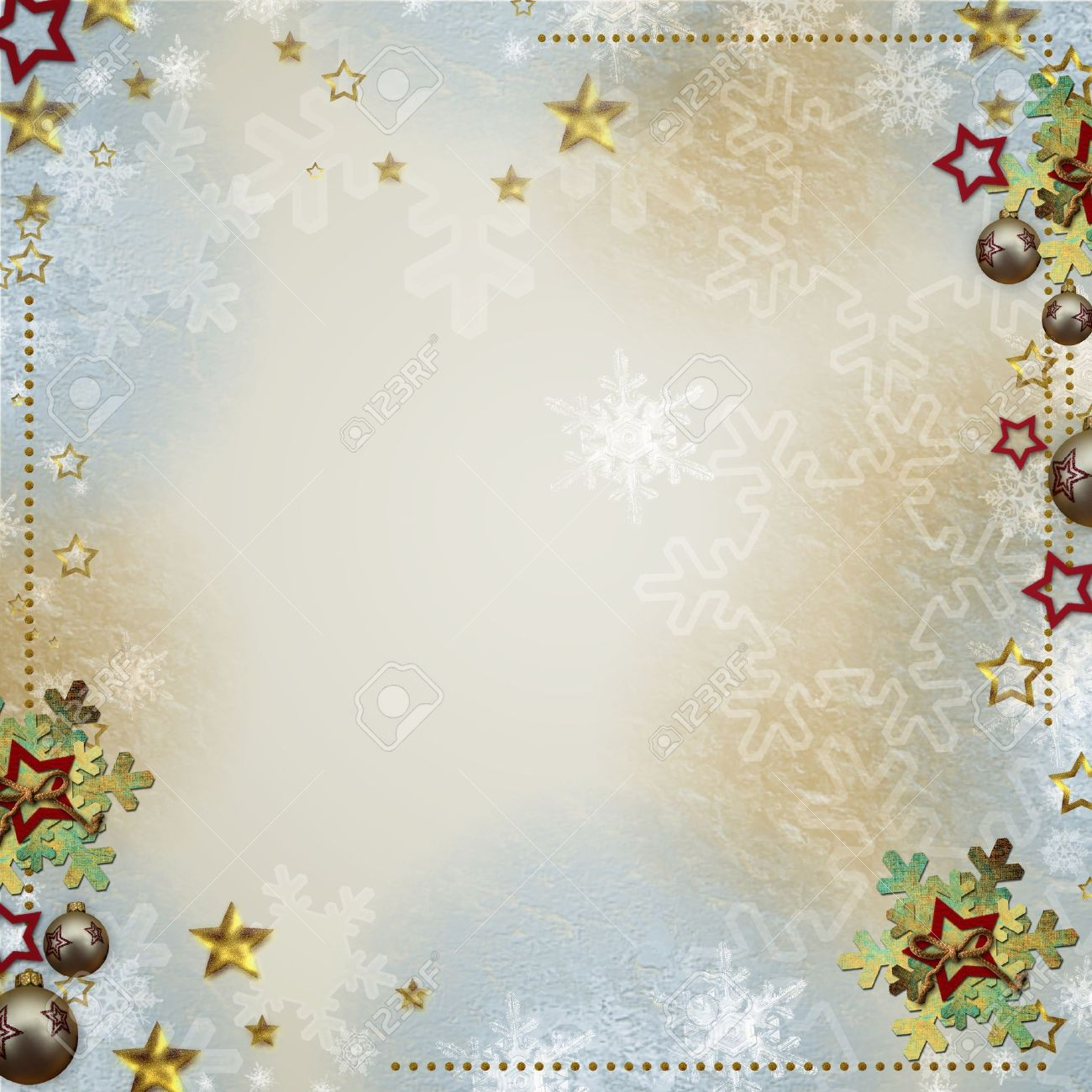 Multicolored backdrop for greetings or invitations with bauble, snowflakes and stars Stock Photo - 14935239