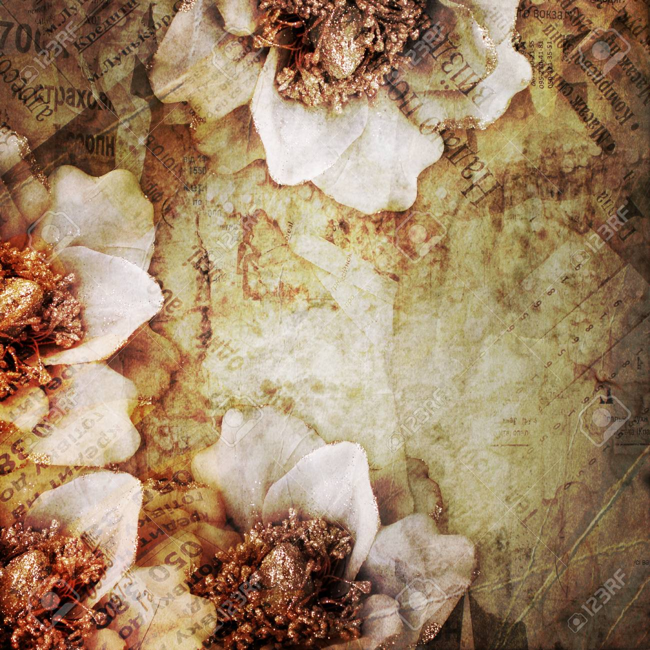 abstract background with printed text , flowers Stock Photo - 15324857