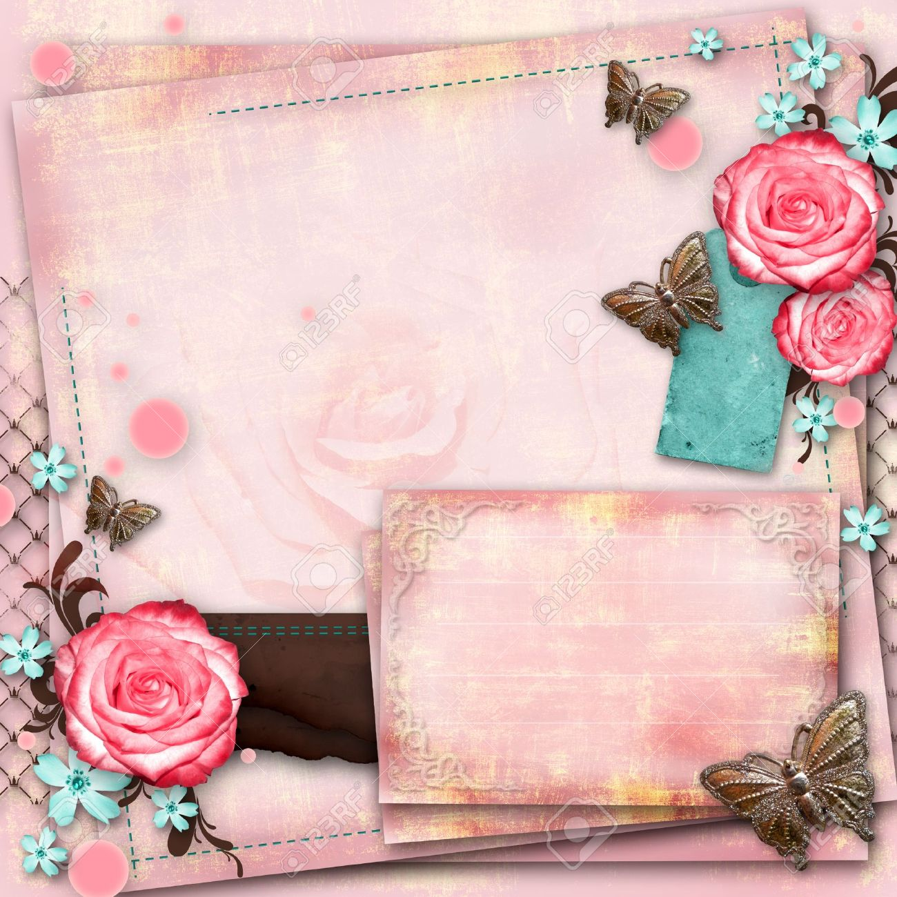 Greeting card with flowers butterfly on pink paper vintage greeting card with flowers butterfly on pink paper vintage background stock photo 20165458 m4hsunfo Images