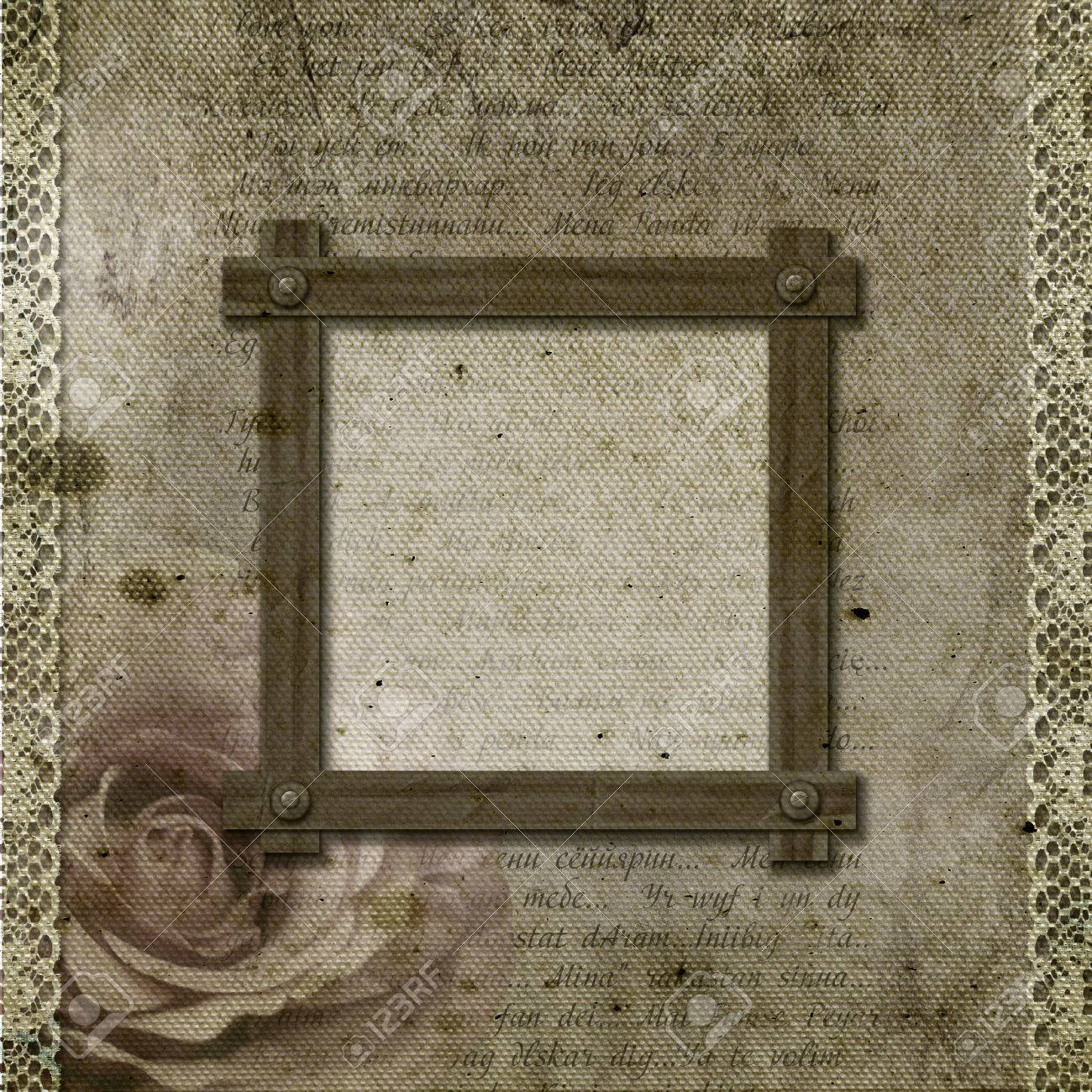 Vintage Background With Frames Roses Lace Text I Love You