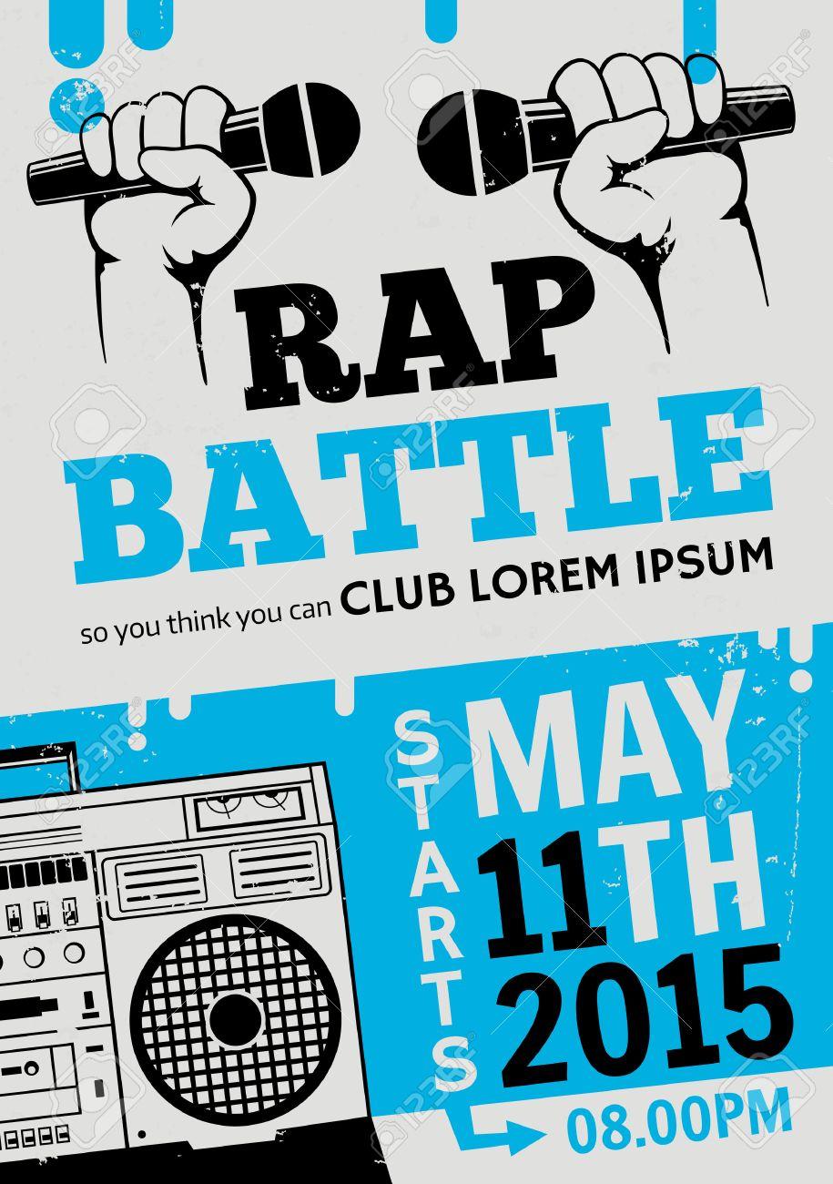 Rap Schlacht, Konzert Hip-Hop-Musik. Vector Template-Design, Flyer ...