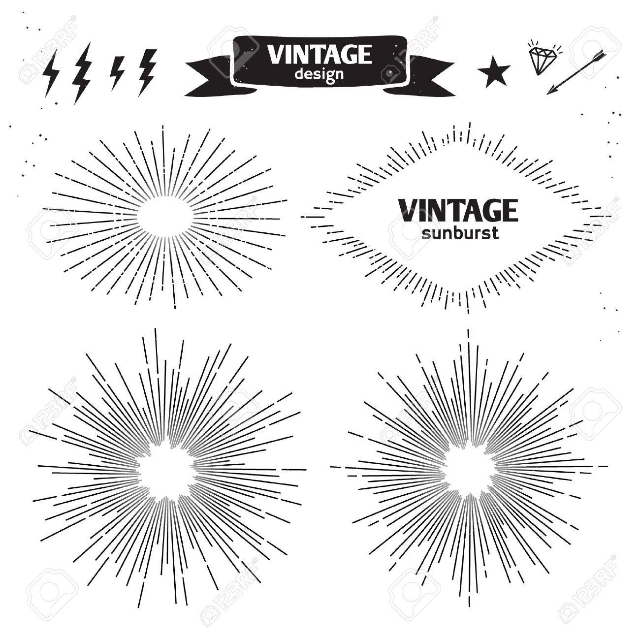 Set Of Vintage Sun Burst. Vector Monochrome Light Rays Royalty ... for Vector Light Rays Vintage  165jwn