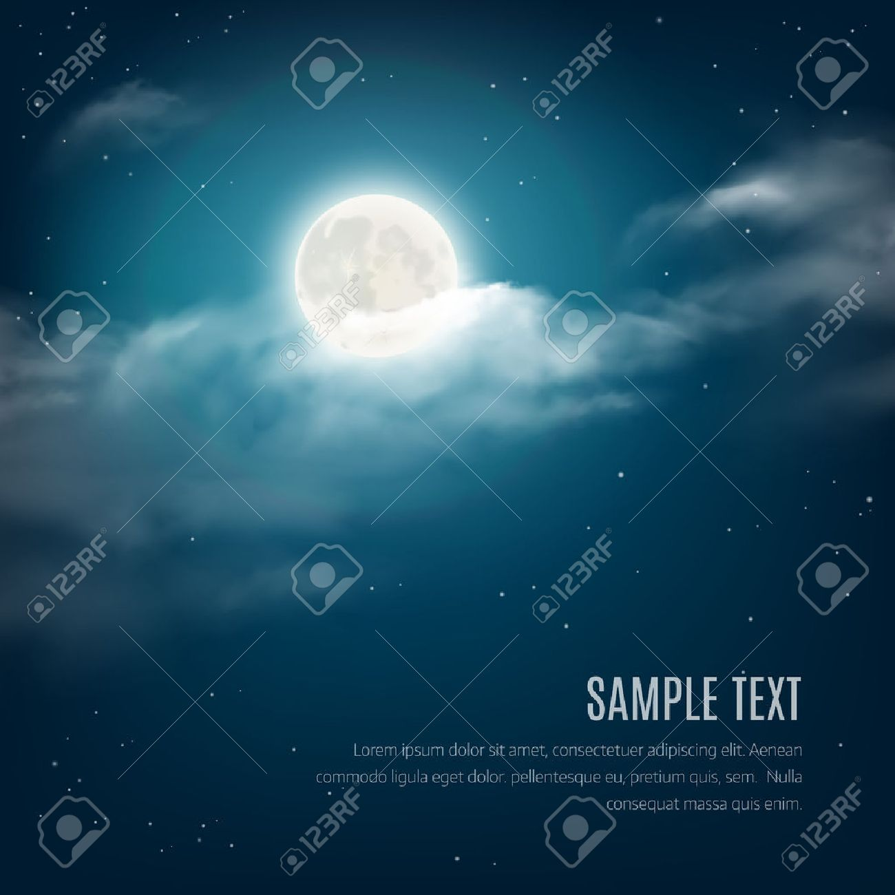 Night sky background, cloudy sky with the shining stars and moon. Vector illustration - 45776458