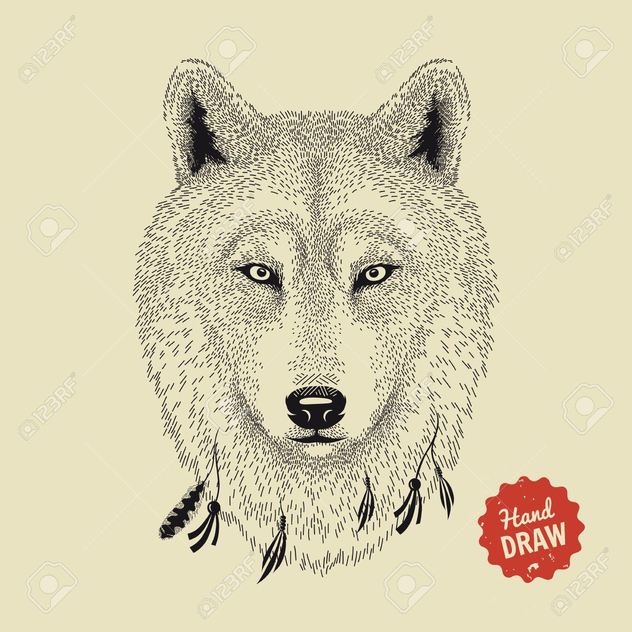 狼の顔のスケッチはベクターオオカミの頭正面手描きイラスト