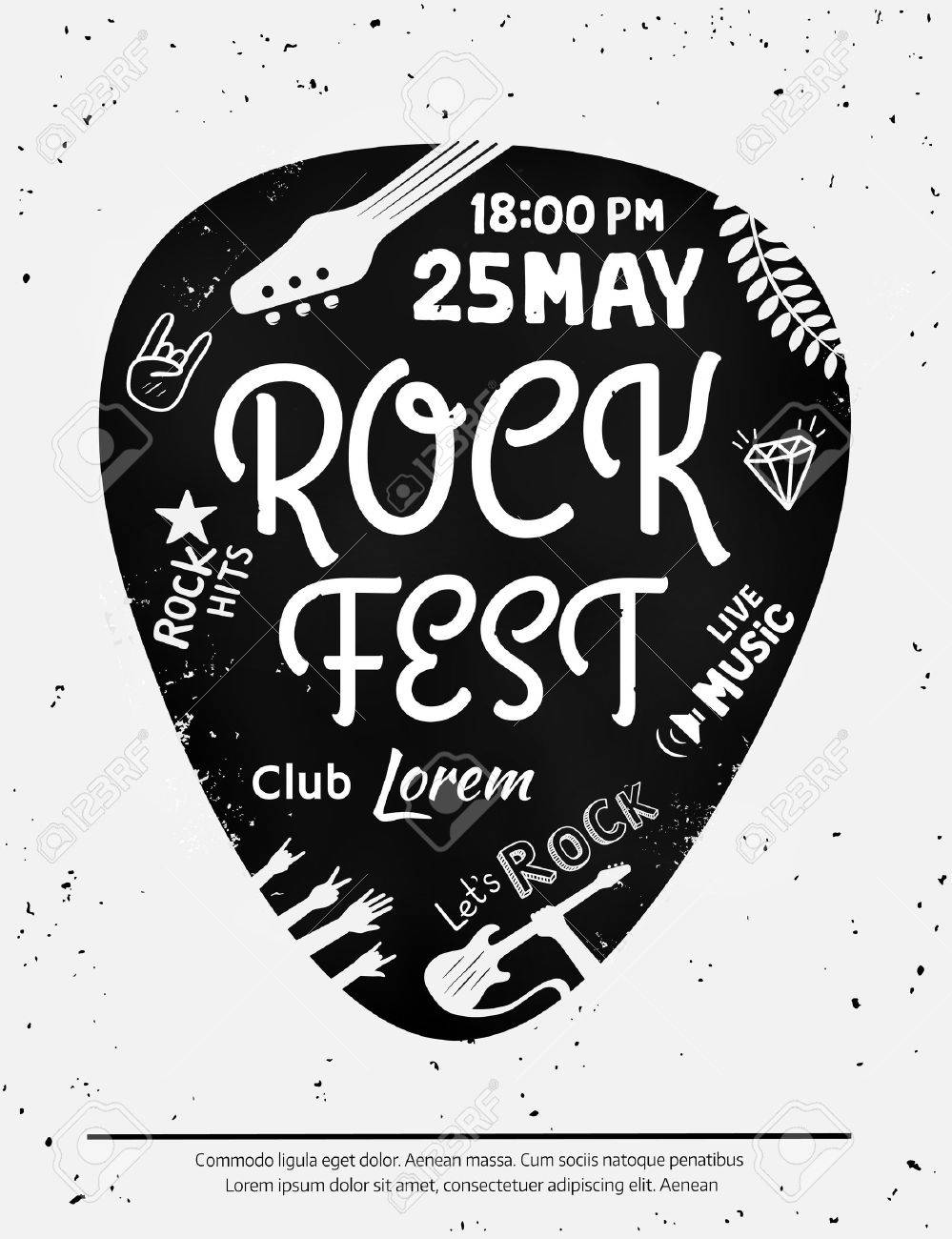 Vintage rock festival poster with Rock and Roll icons on grunge background. - 63634675