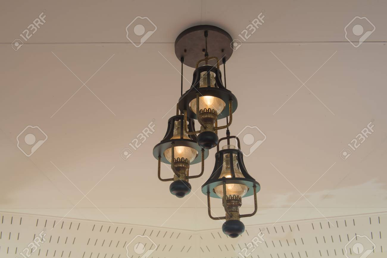 Classic Hanging Lamp On The Ceiling Stock Photo Picture And Royalty Free Image Image 60536726